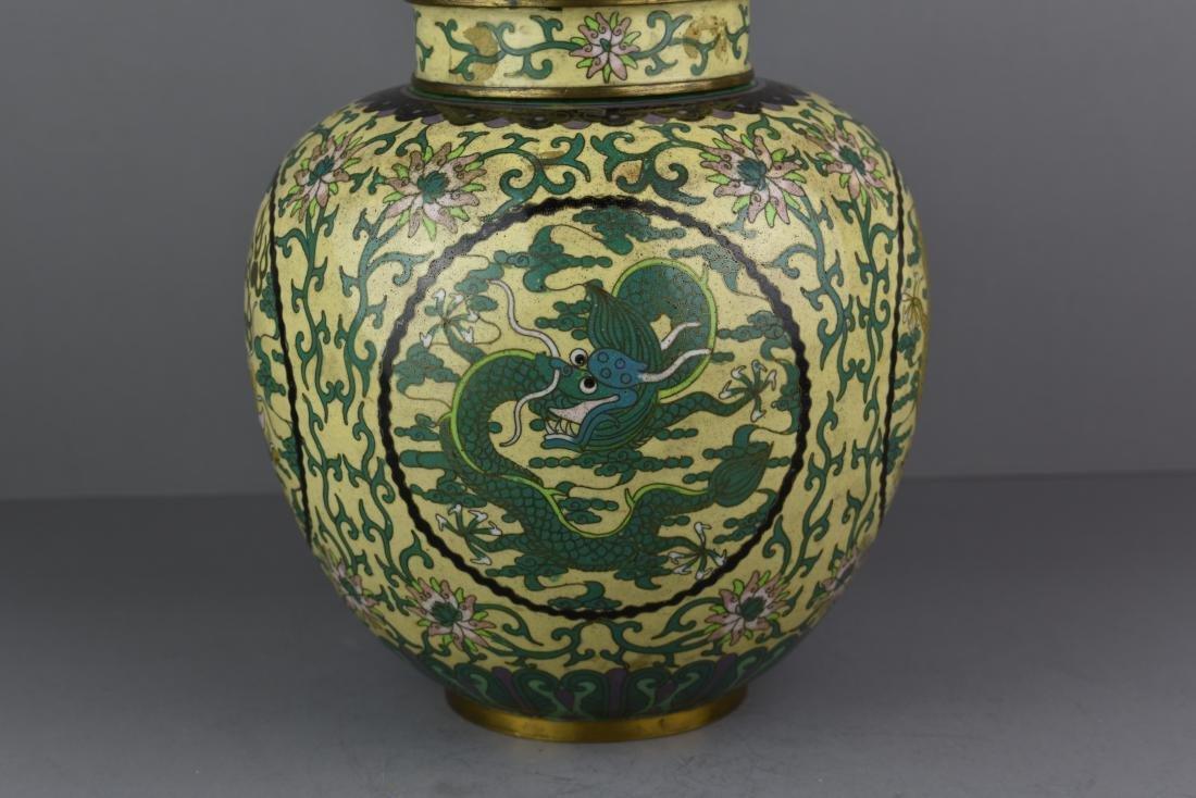 CHINESE QING DYNASTY CLOISONNE DRAGON JAR - 2