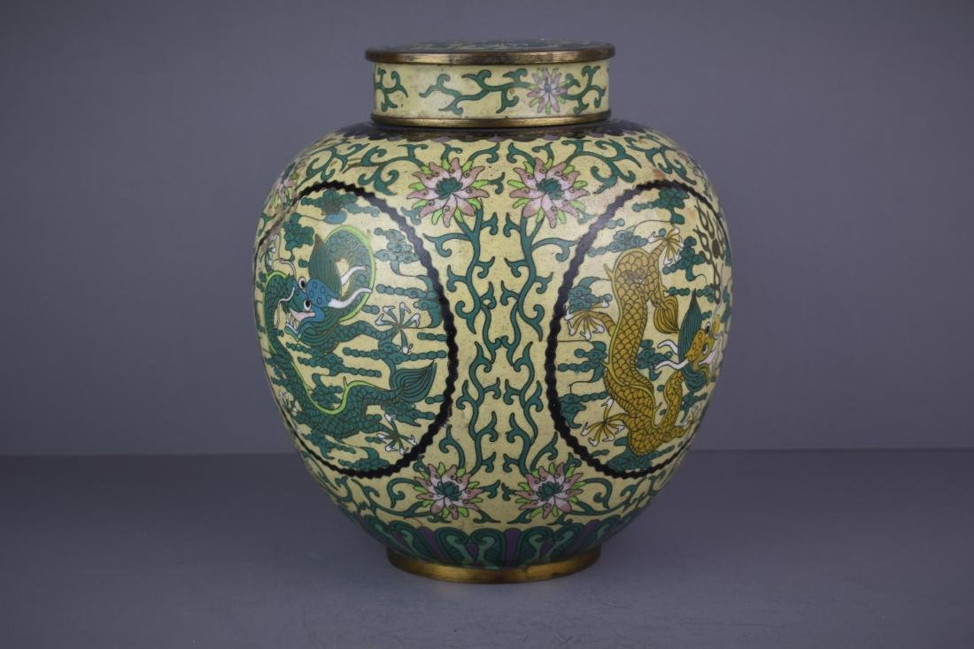 CHINESE QING DYNASTY CLOISONNE DRAGON JAR - 4