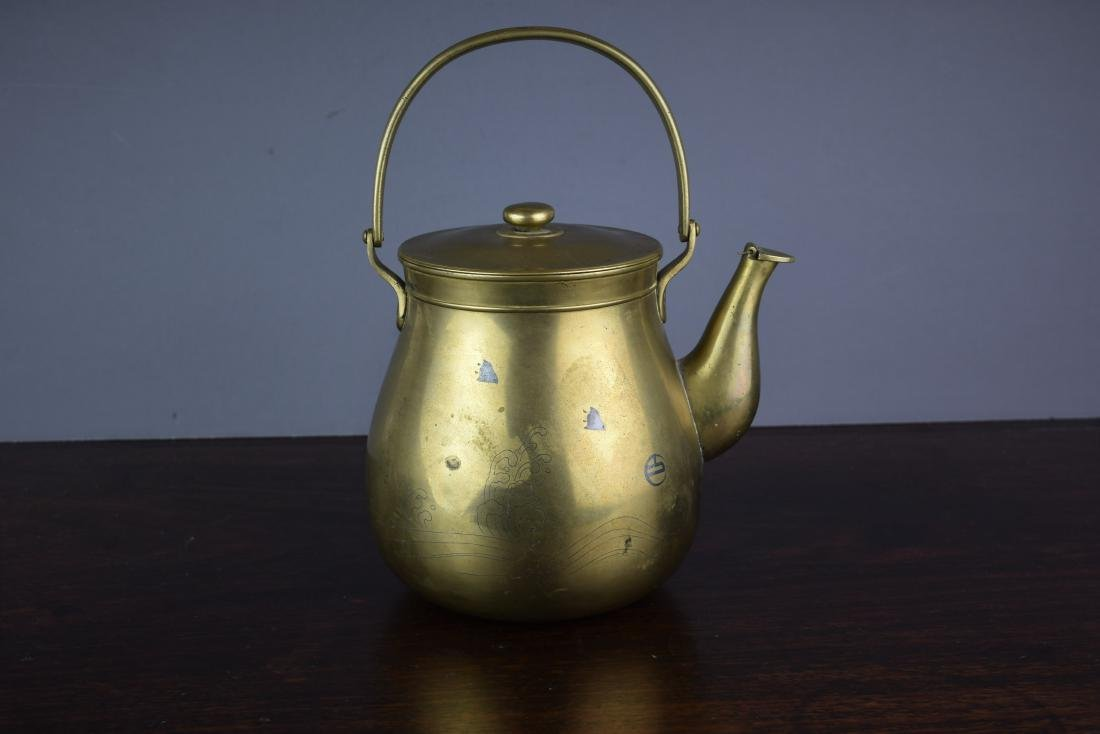 CHINESE QING DYNASTY BRASS/SILVER MARKED TEAPOT