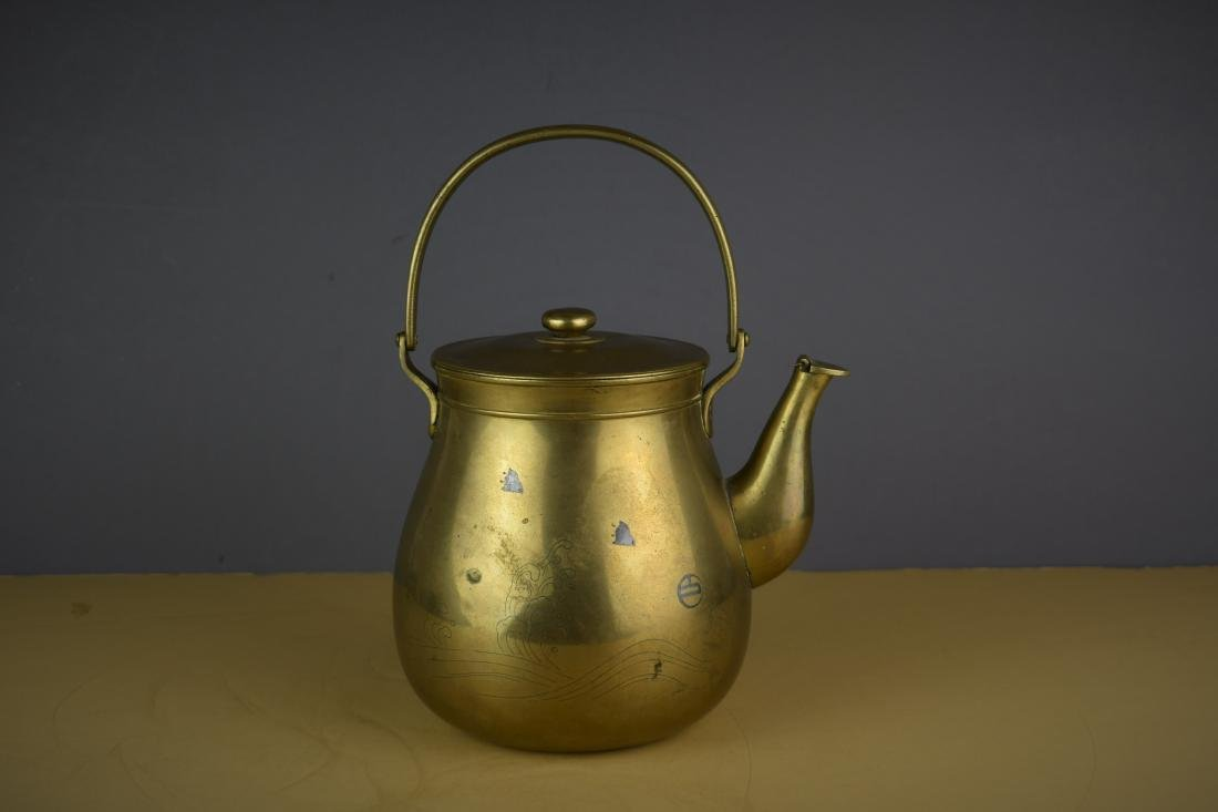 CHINESE QING DYNASTY BRASS/SILVER MARKED TEAPOT - 2