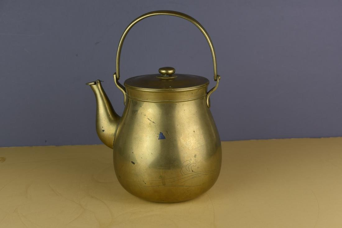 CHINESE QING DYNASTY BRASS/SILVER MARKED TEAPOT - 4