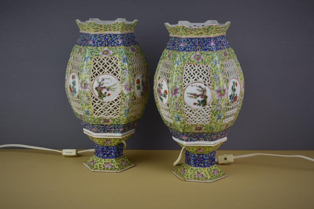 CHINESE QING DYNASTY FAMILLE ROSE WEDDING LANTERNS