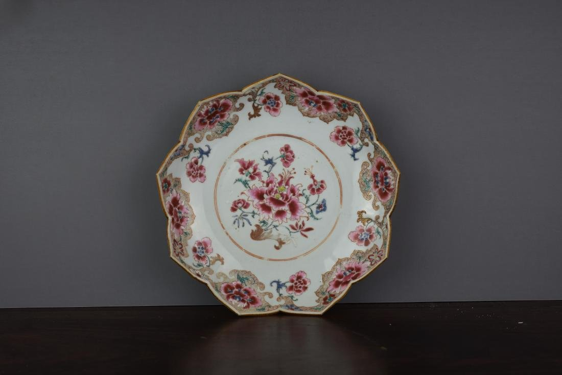 CHINESE EXPORT YONGZHENG FAMILLE ROSE LOTUS DISH