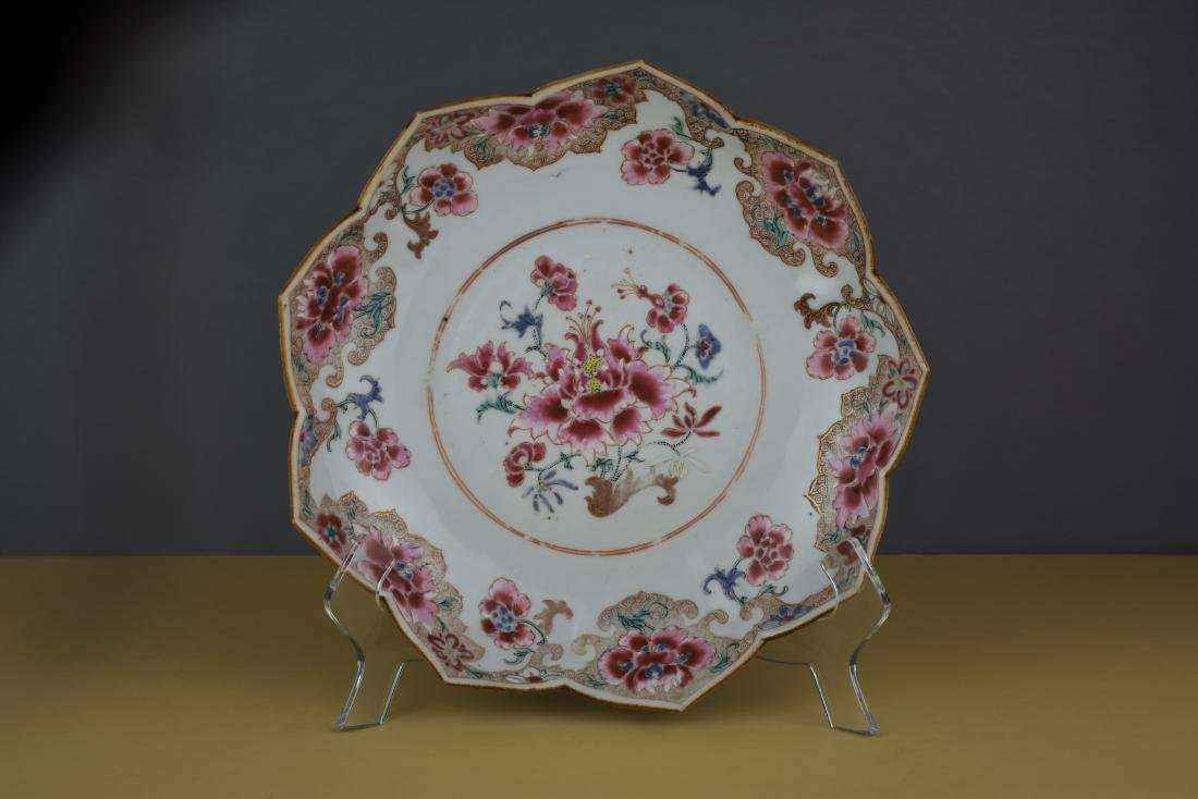 CHINESE EXPORT YONGZHENG FAMILLE ROSE LOTUS DISH - 2