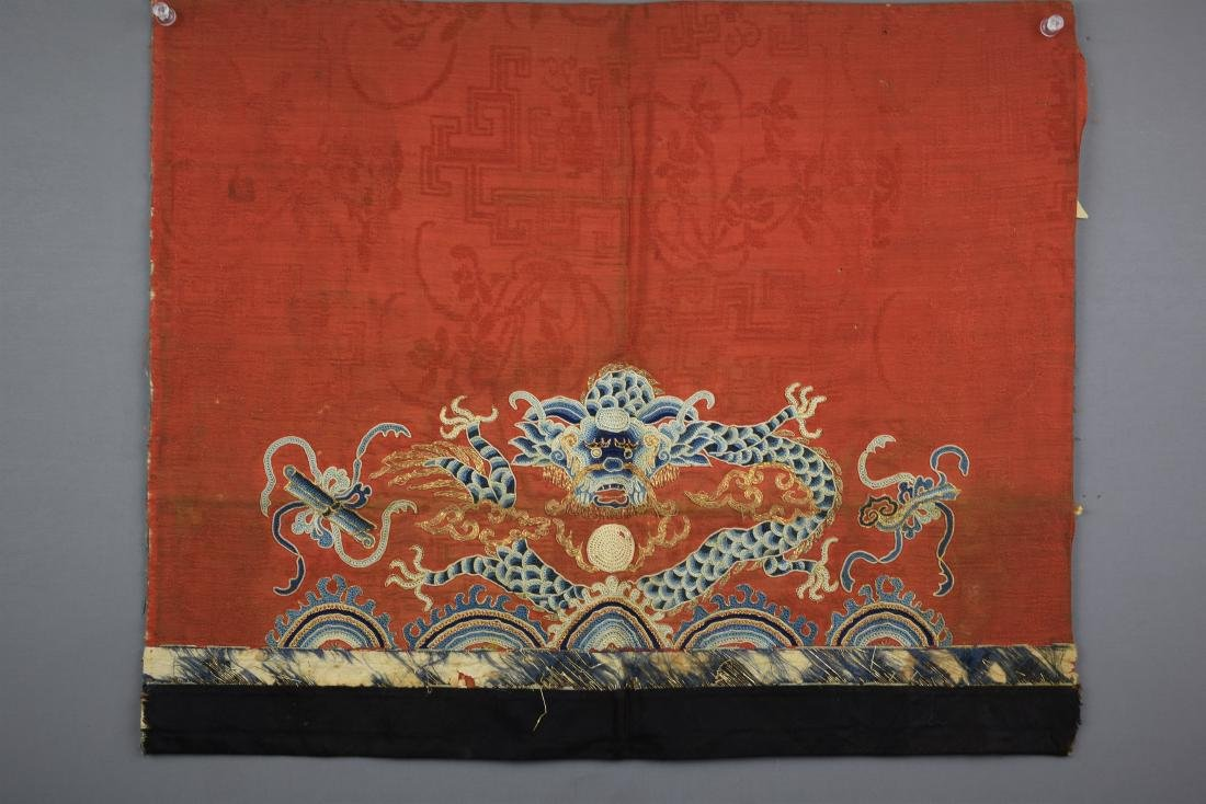FINE CHINESE ANTIQUE DRAGON EMBROIDERED TEXTILE - 2