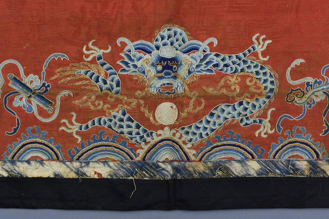 FINE CHINESE ANTIQUE DRAGON EMBROIDERED TEXTILE - 4