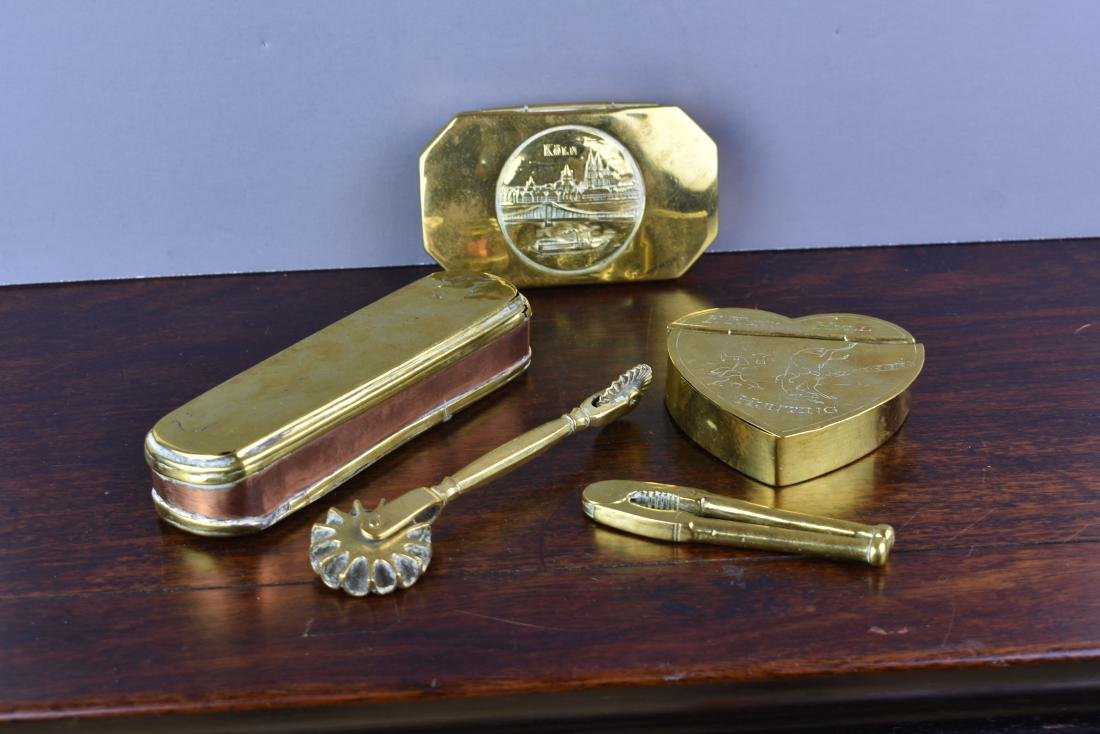 DUTCH 17TH C. BRASS TOBACCO BOX AND OTHERS