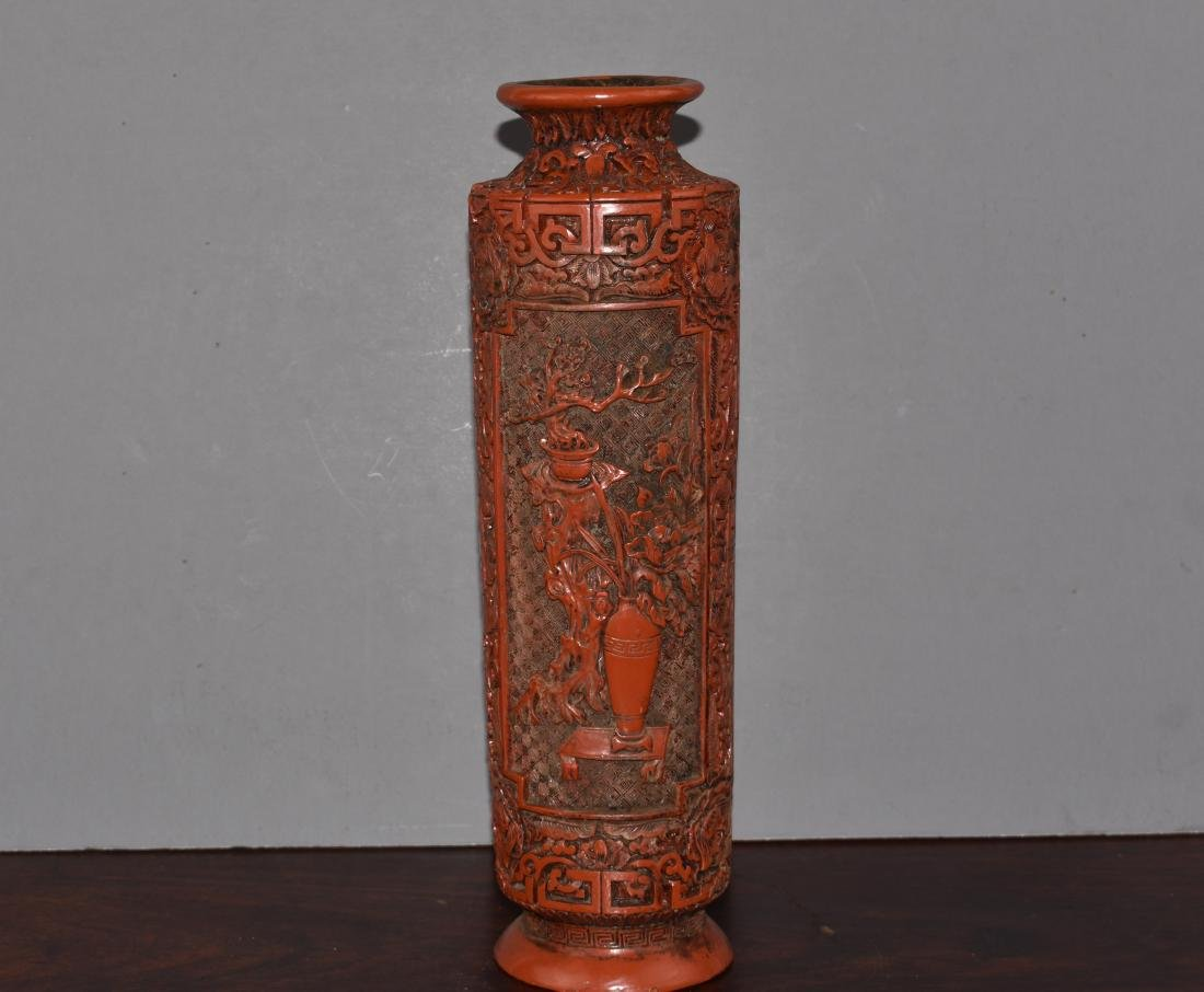 FINE CHINESE CINNABAR QIANLONG MARK AND PERIOD VASE - 2