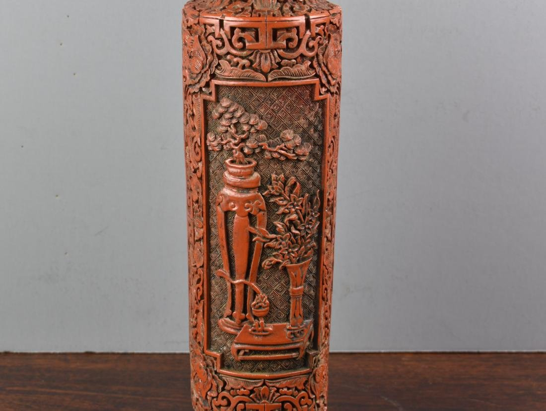 FINE CHINESE CINNABAR QIANLONG MARK AND PERIOD VASE - 3