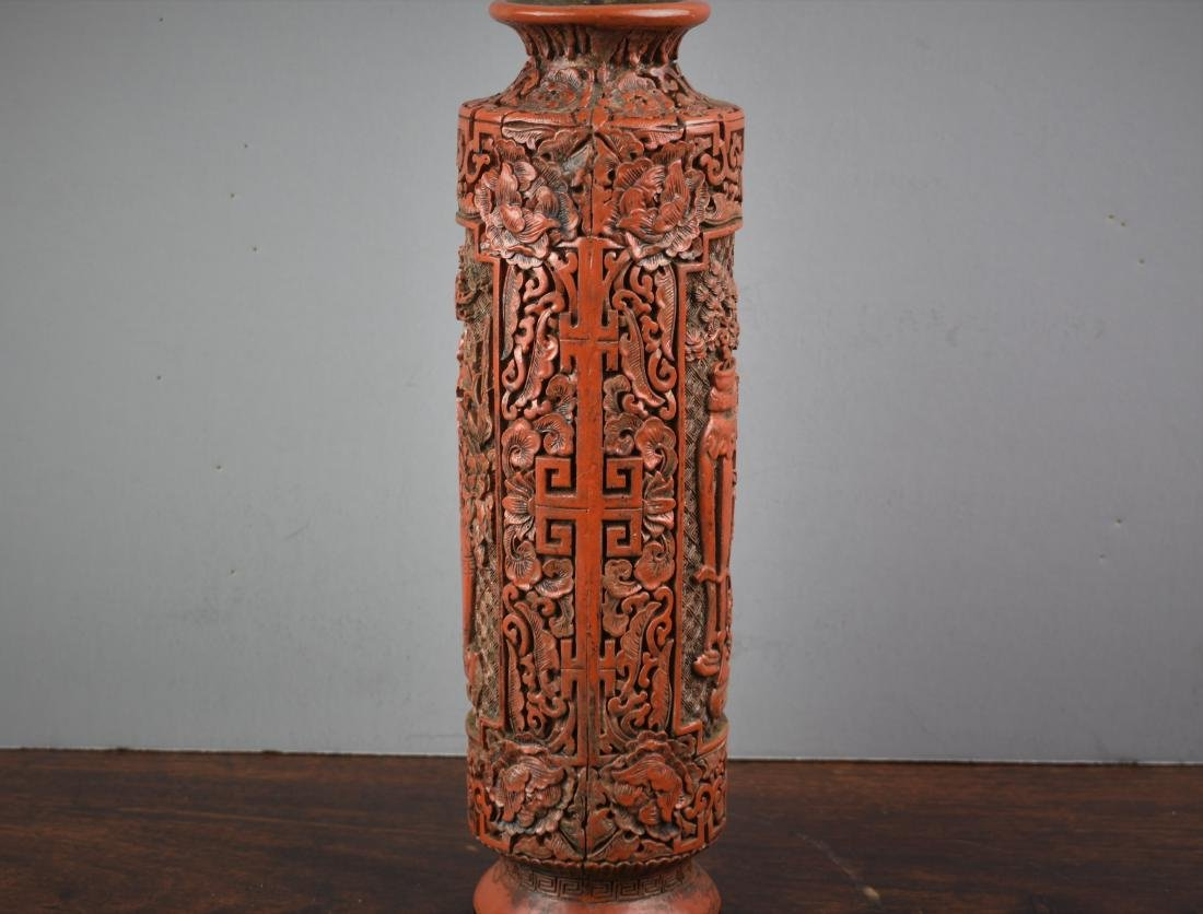 FINE CHINESE CINNABAR QIANLONG MARK AND PERIOD VASE - 4