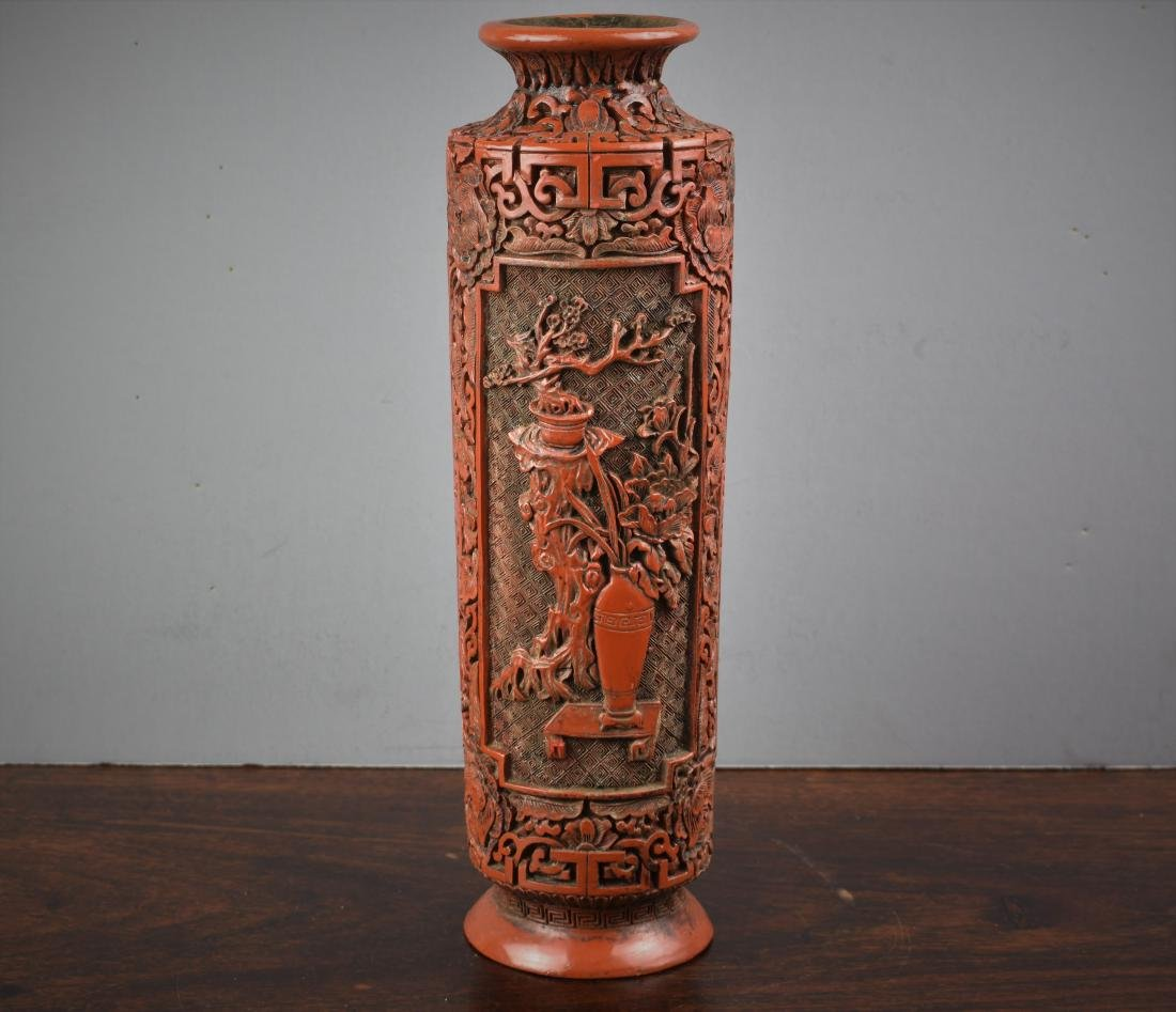 FINE CHINESE CINNABAR QIANLONG MARK AND PERIOD VASE - 5