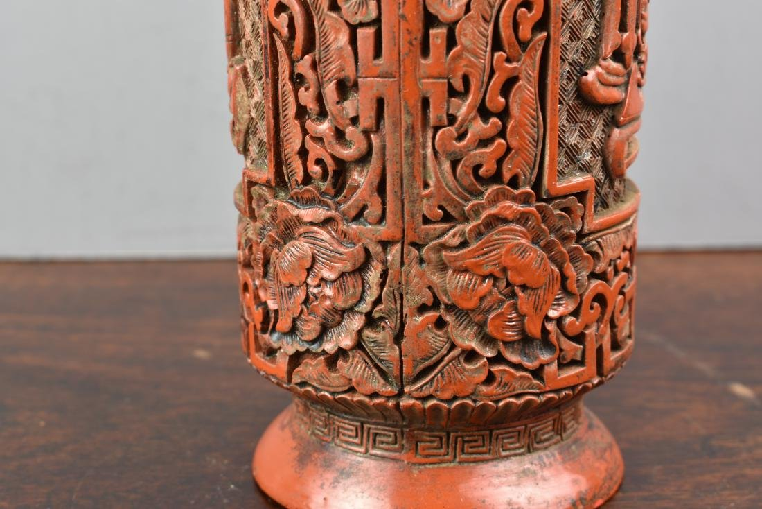 FINE CHINESE CINNABAR QIANLONG MARK AND PERIOD VASE - 6