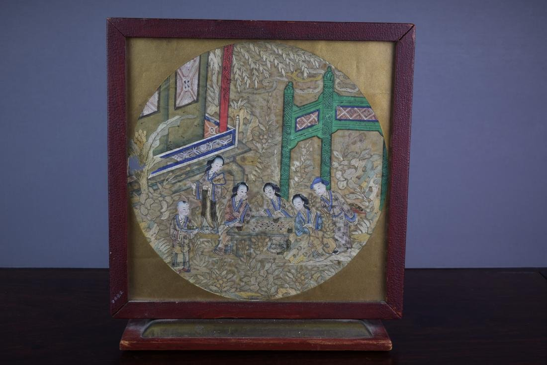 Chinese Qing Dynasty Silk Textile Roundel Painting - 3