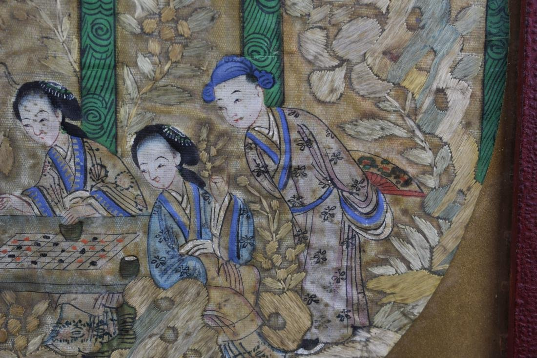 Chinese Qing Dynasty Silk Textile Roundel Painting - 5