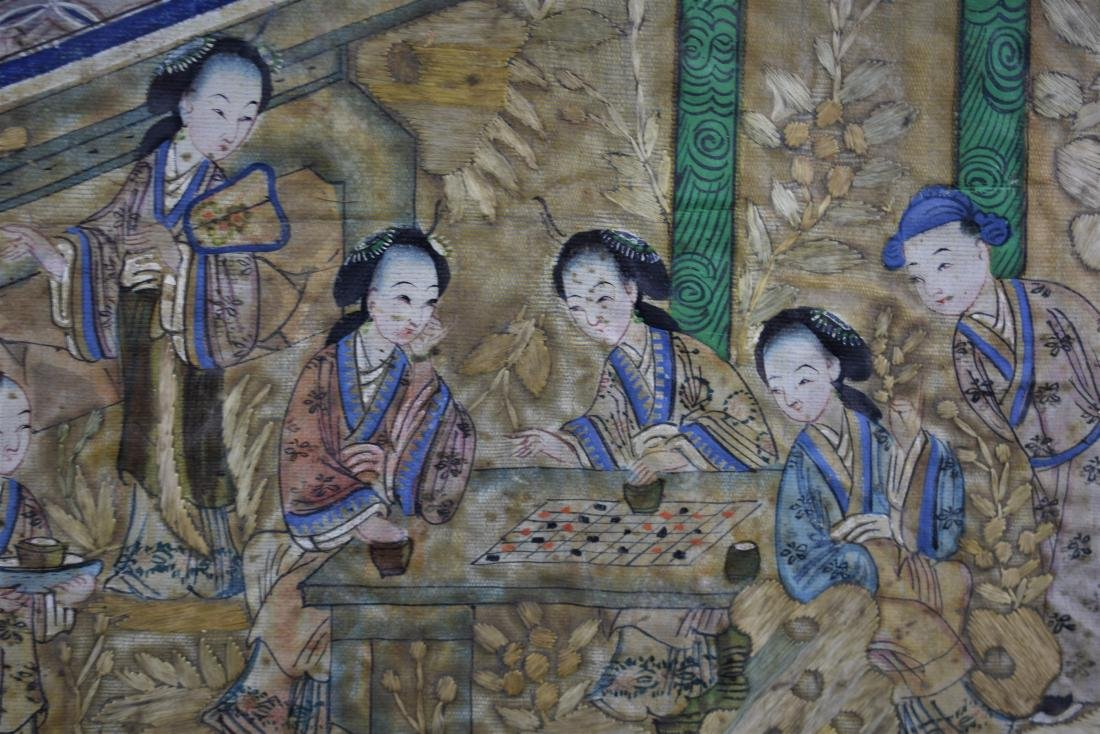 Chinese Qing Dynasty Silk Textile Roundel Painting - 6