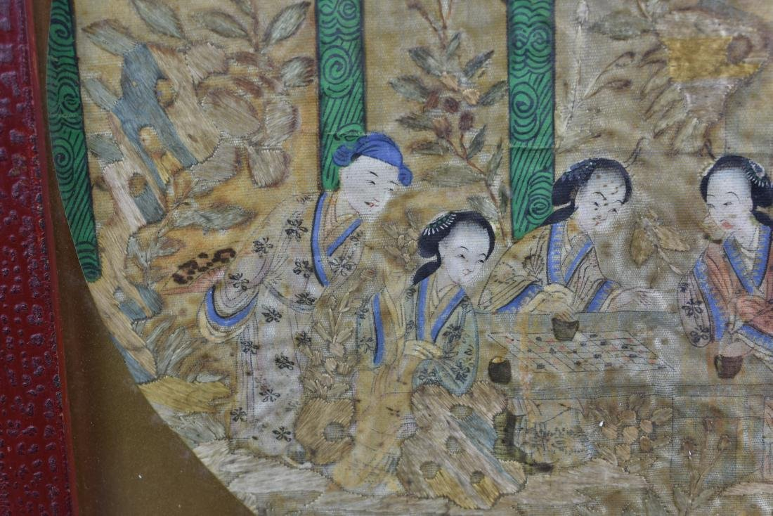 Chinese Qing Dynasty Silk Textile Roundel Painting - 9