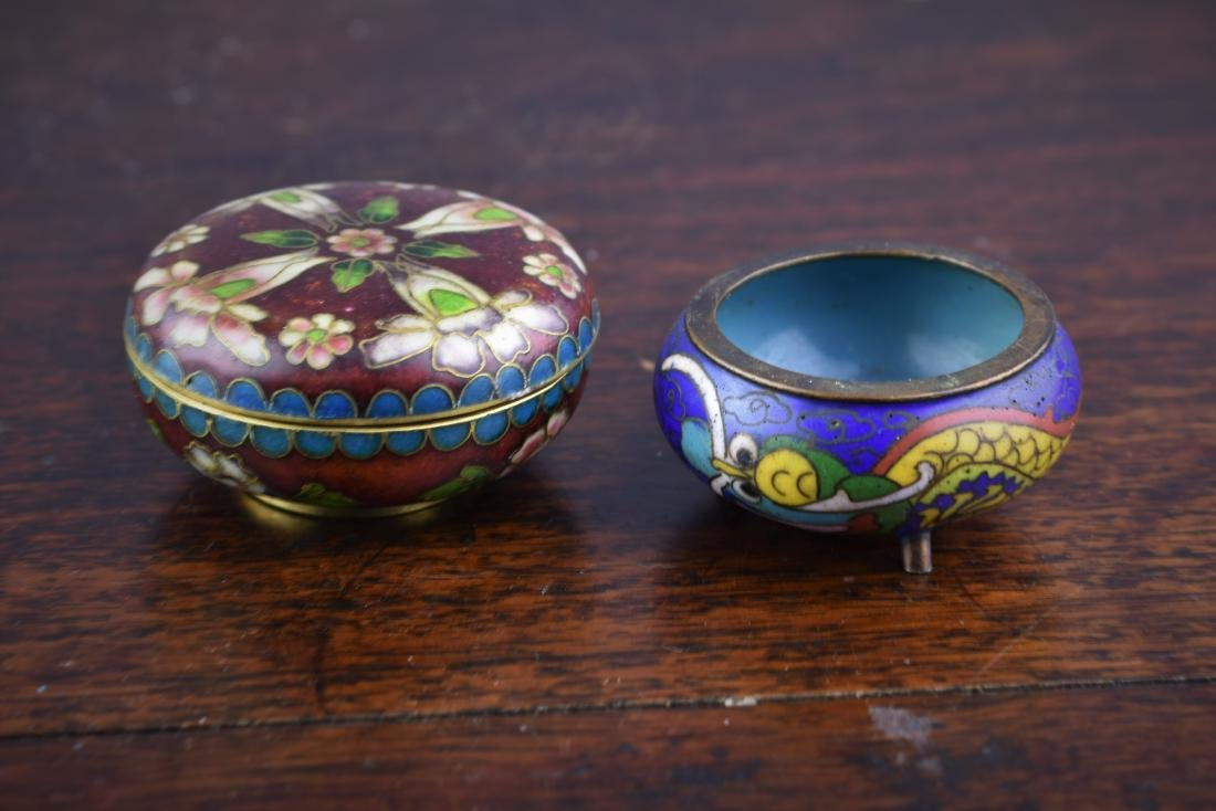 Chinese and Japanese Cloisonne Box and Bowl