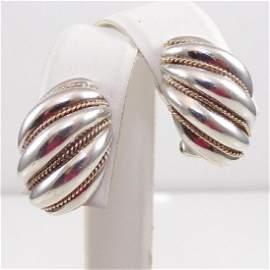 TIFFANY & CO sterling silver 14k shell earrings #88
