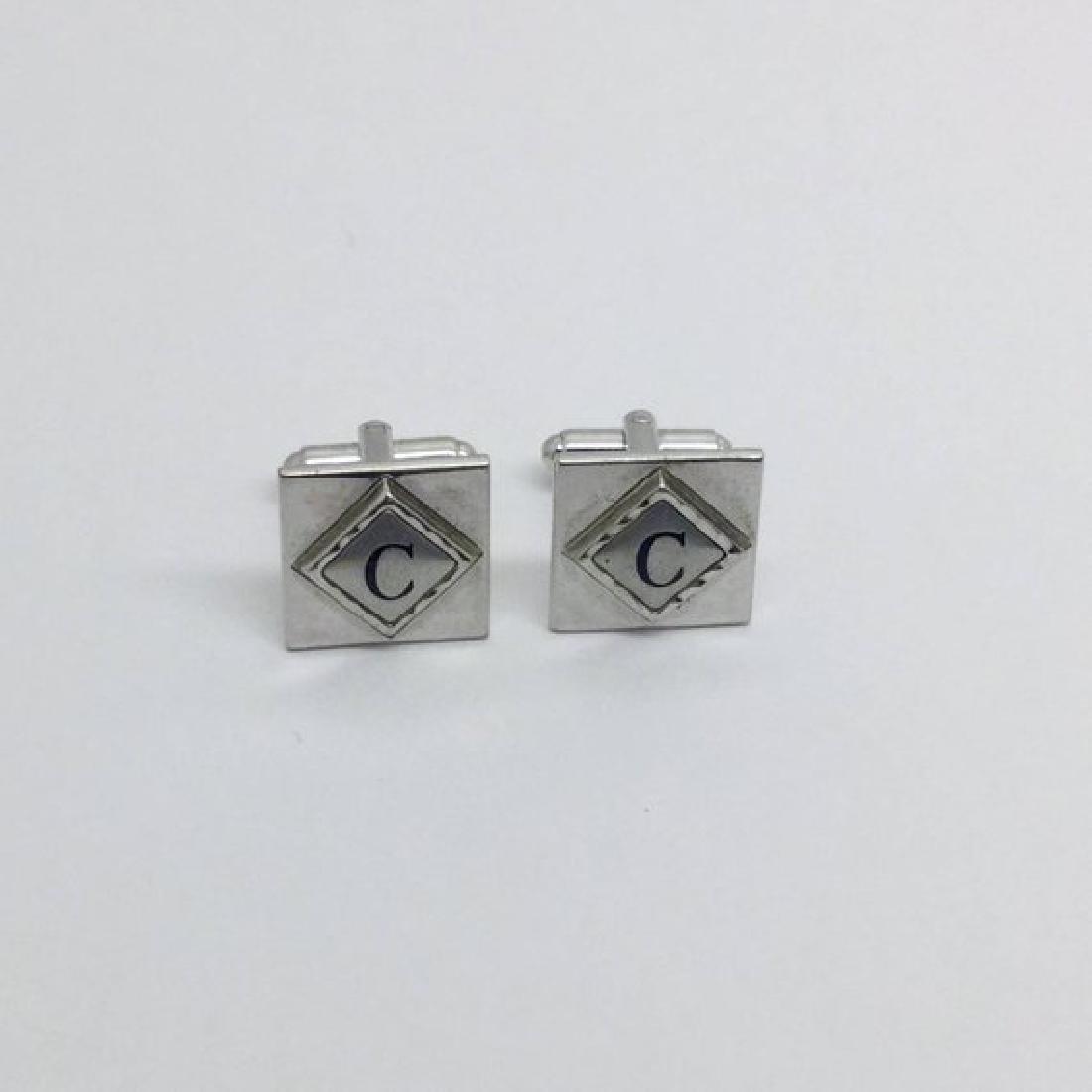 Shield Silver tone C cufflinks set #490
