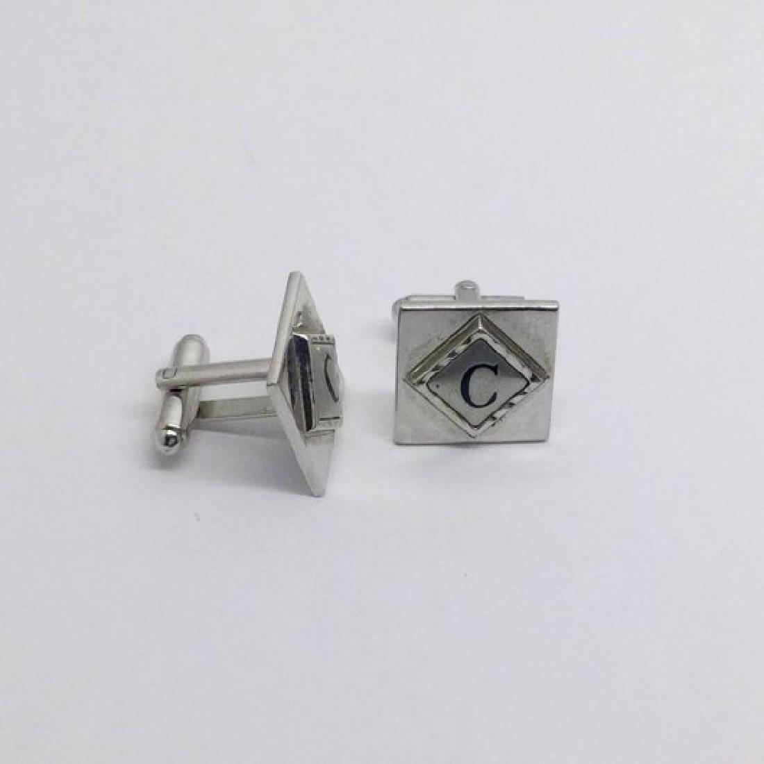Shield Silver tone C cufflinks set #490 - 2