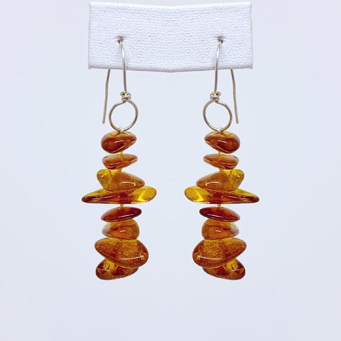 sterling silver baltic amber bead earrings #10