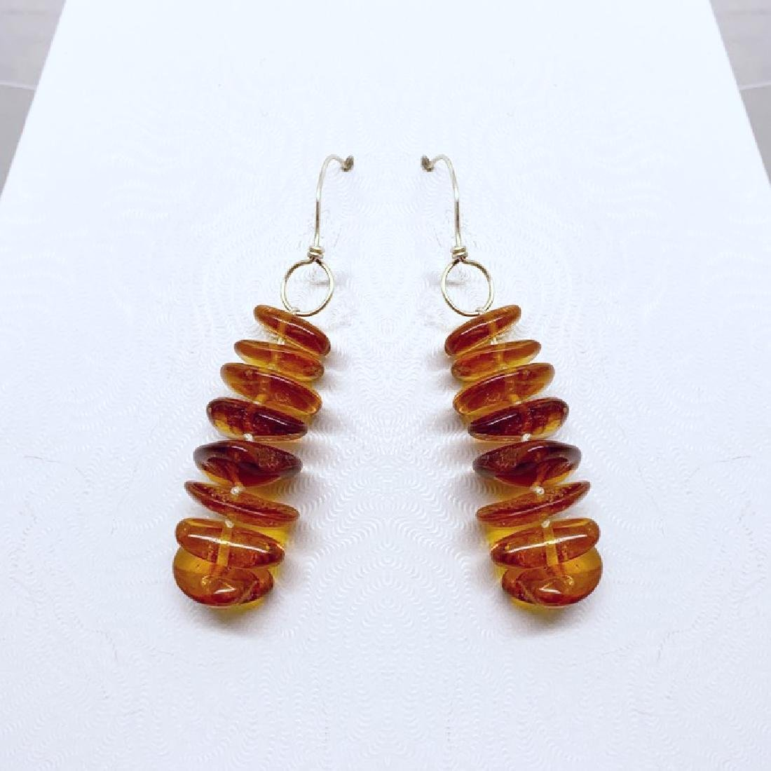 sterling silver baltic amber bead earrings #10 - 2