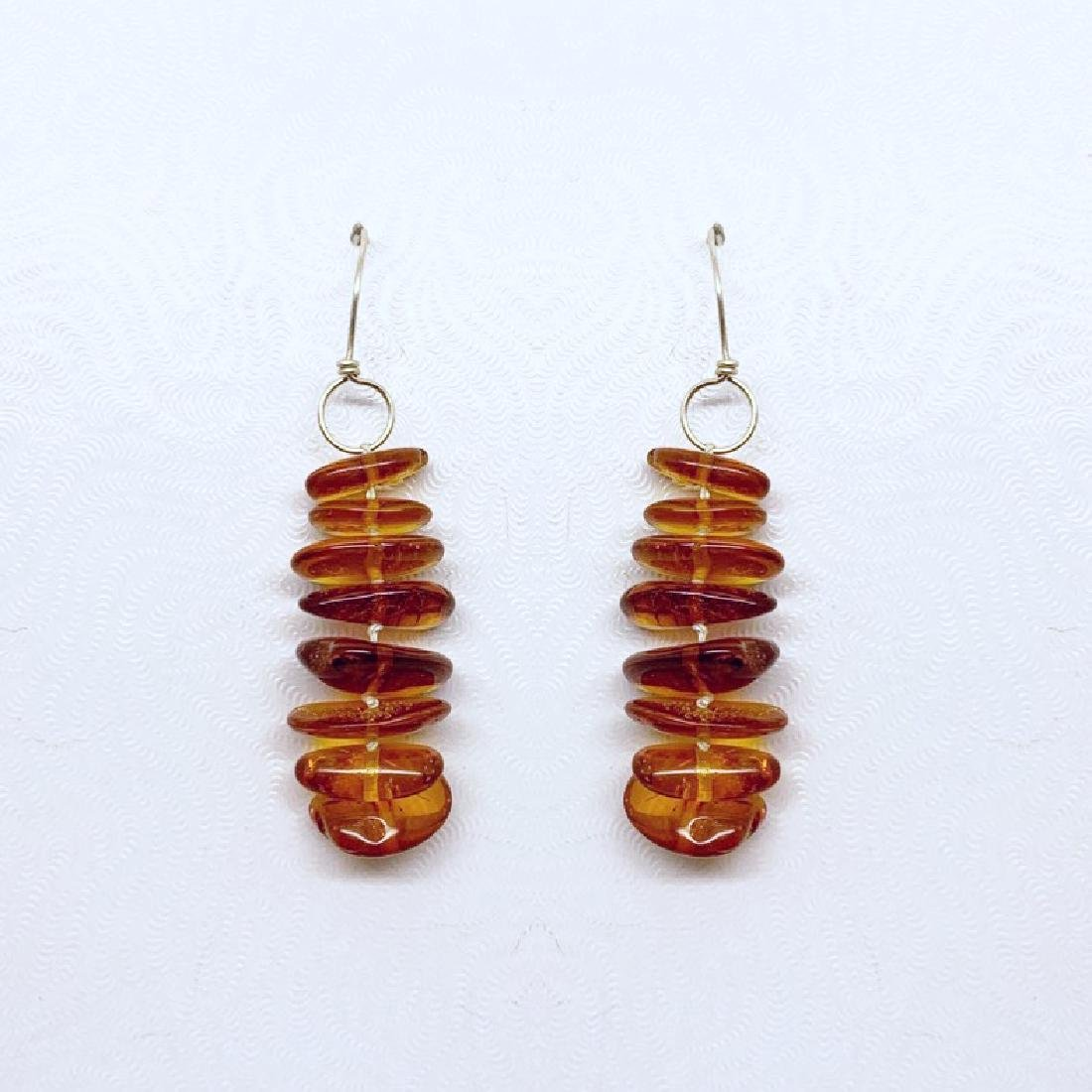 sterling silver baltic amber bead earrings #10 - 3