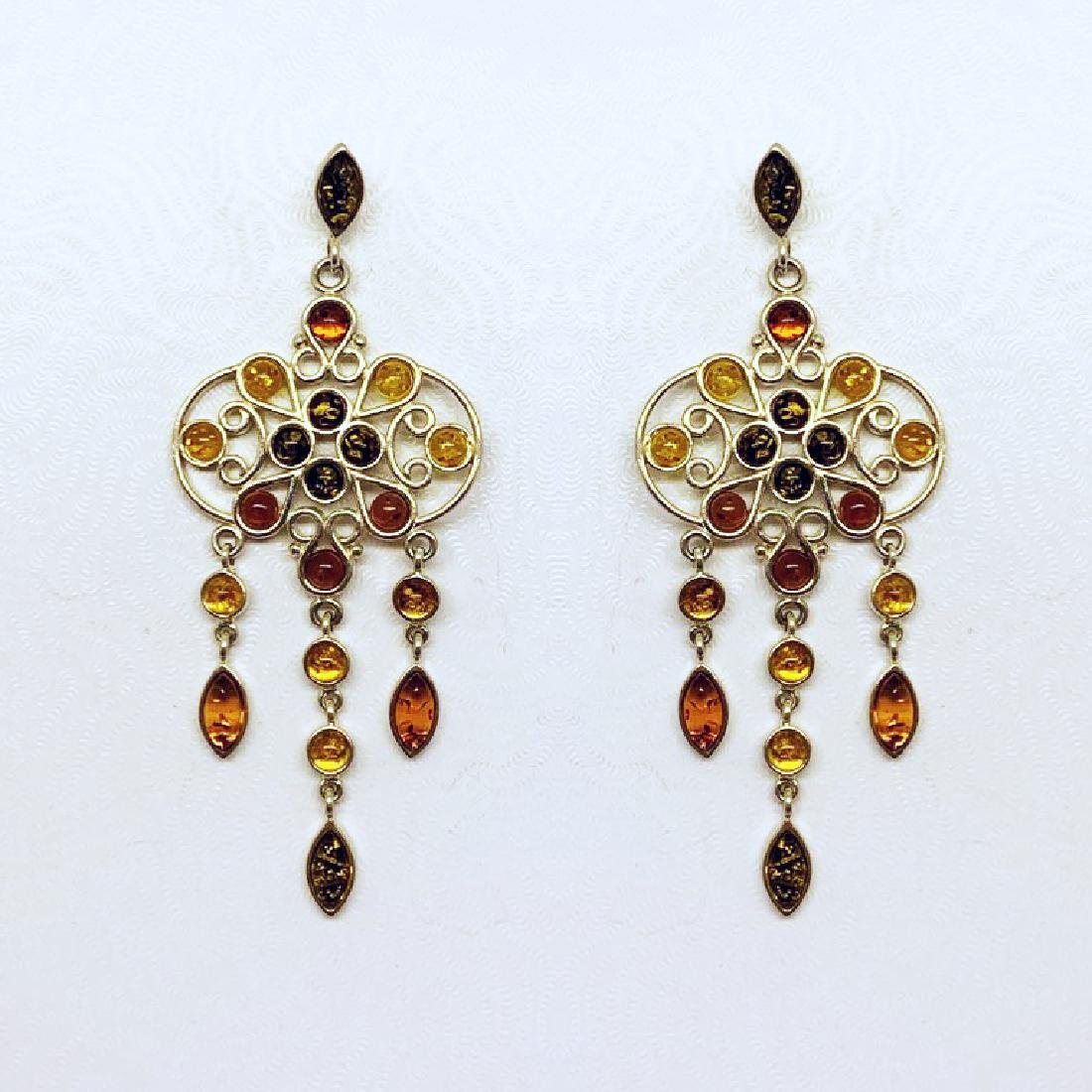 sterling silver baltic amber earrings  #378 - 2