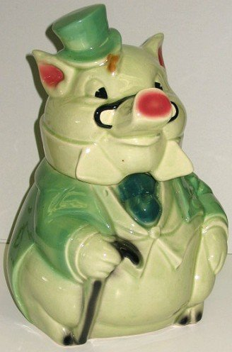 4: Vintage Brush/McCoy Formal Pig Cookie Jar~Green