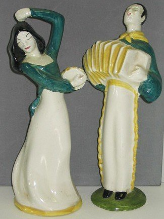 5: Rare Red Wing Pottery Figurines Gypsy Musicians
