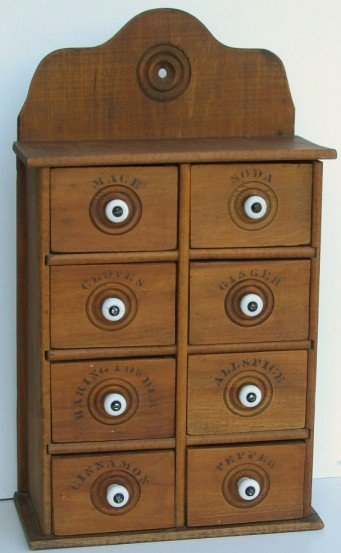 8: Vintage Wooden Stenciled 8 Drawer Spice Cabinet
