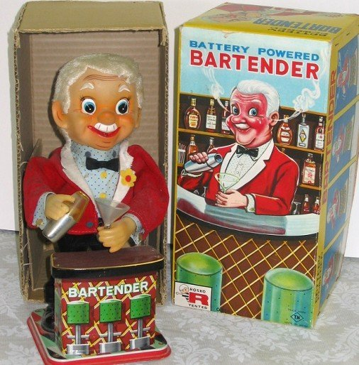 19: Vintage Battery Op Rosco Bartender Toy wBox NICE!