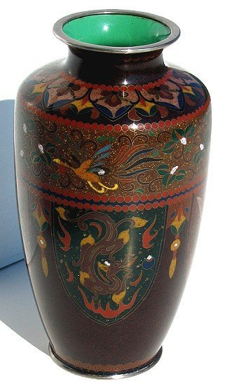 23: 19th Cent Japanese Cloisonne Vase~Dragon/Phoenix