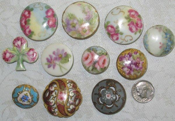 27: Vintage Button Lot w Hand Painted Florals