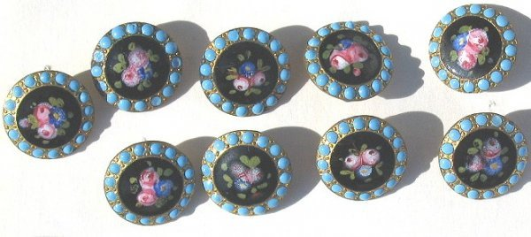 28: 9 Ornate Hand Painted Enamel Over Brass Buttons