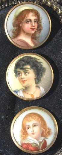 29: 3 Antique Porcelain Portrait Buttons