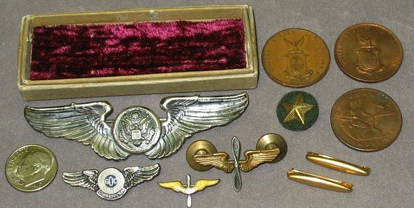 32: WWII Sterling Pilot Wings/Pins & Philippine Coins