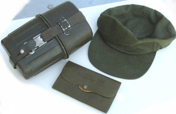39: WWII Lot w Cap-Sewing Kit-Belt Canteen Set