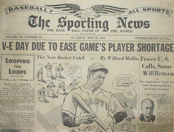 41: 1945 Baseball Sporting Newspaper Giants/V-E Day