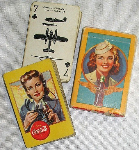 42: WWII Era Coca-Cola Playing Cards w Aircraft ID