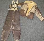 69: WWII Pilot Leather Bomber Jacket & Flight Pants