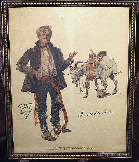 246: Old Charlie Russel BPOE Montana Print~Goat Rider?