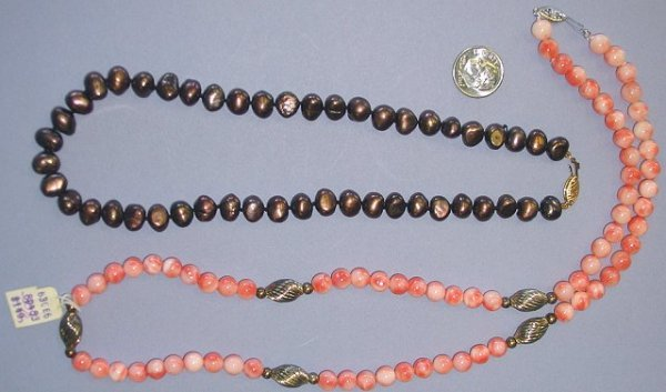 504: Coffee Brown Pearl & Coral Bead Estate Necklaces