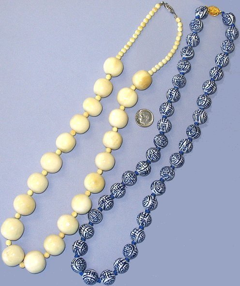 505: Antique Ivory & Chinese Porcelain Bead Necklaces