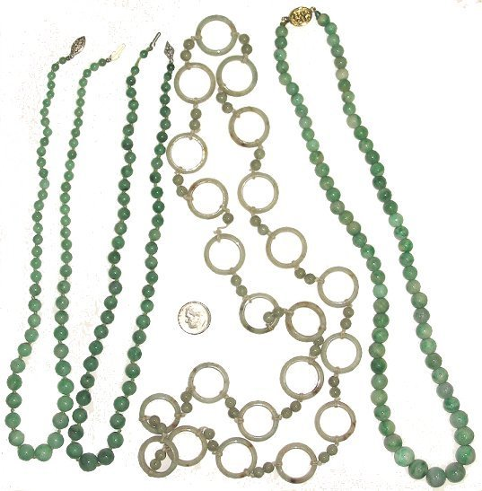 521: Estate Lot of 4 Vintage Jade Bead/Ring Necklaces