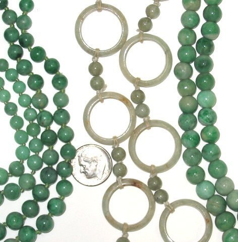 521: Estate Lot of 4 Vintage Jade Bead/Ring Necklaces - 2