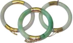 526: 3 Jade & 14kt Gold Hinged Estate Bangle Bracelets