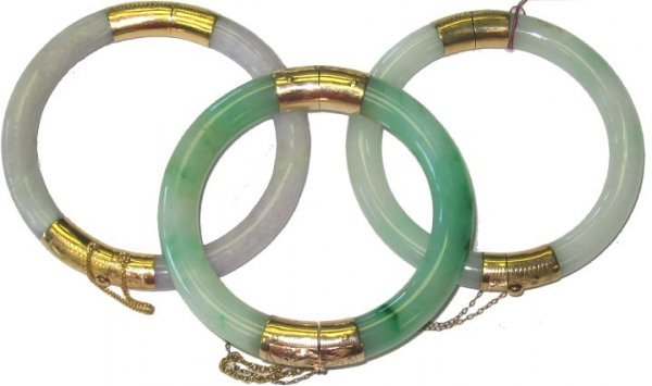 526: 3 Jade & 14kt Gold Hinged Estate Bangle Bracelets