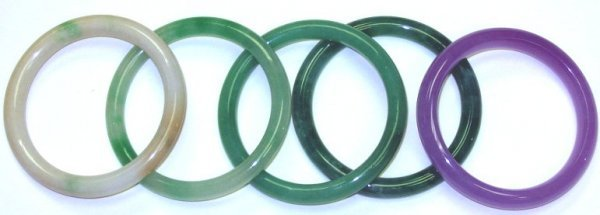 560: 5 Jade Estate Bangle Bracelets Jade & Lavender