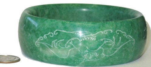 2: Wide Green Jade Bangle w Etched Design~Large Size
